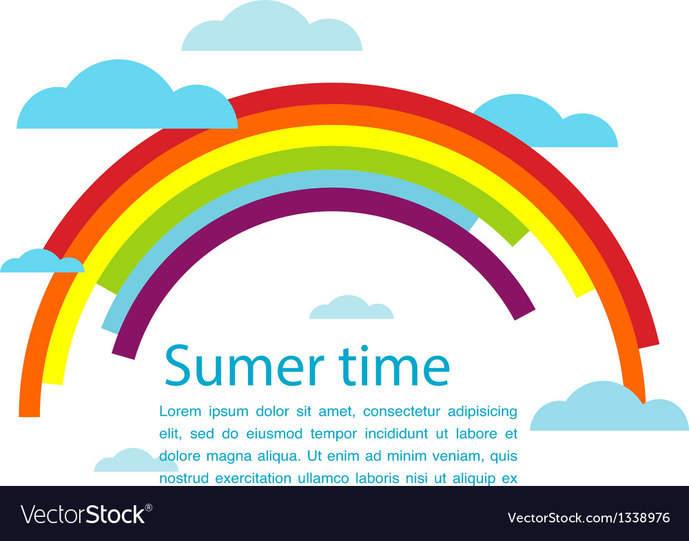 Summer time with rainbow and clouds vector