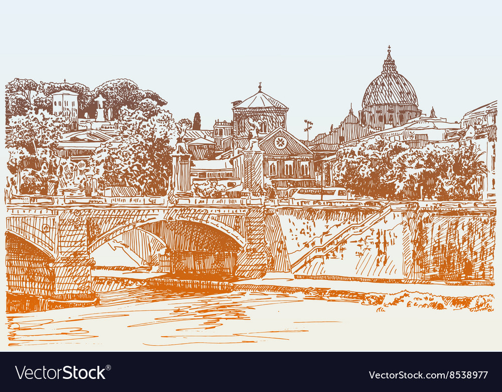 Drawing of rome italy cityscape type bridge in vector