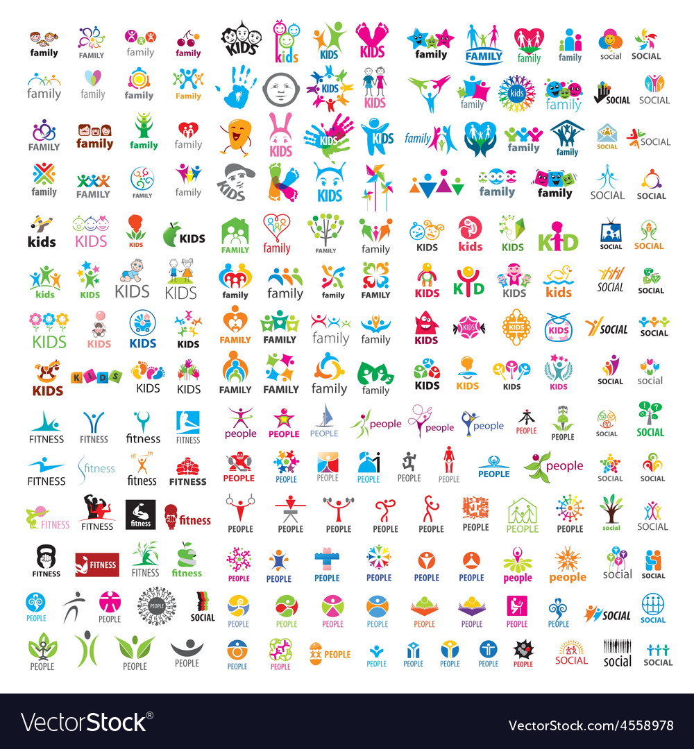 Biggest collection of logos people vector