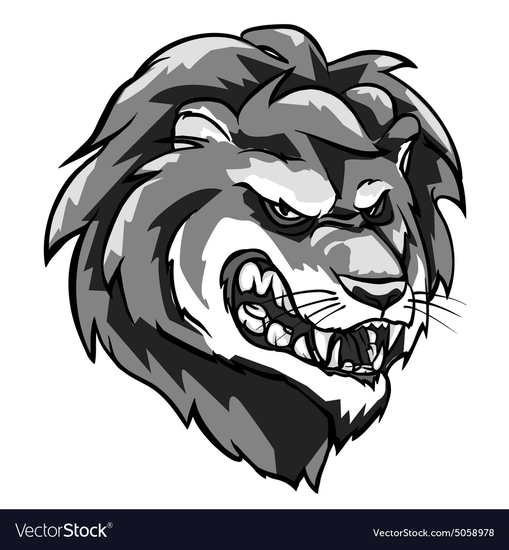 Lion mascot monochrome team label design vector