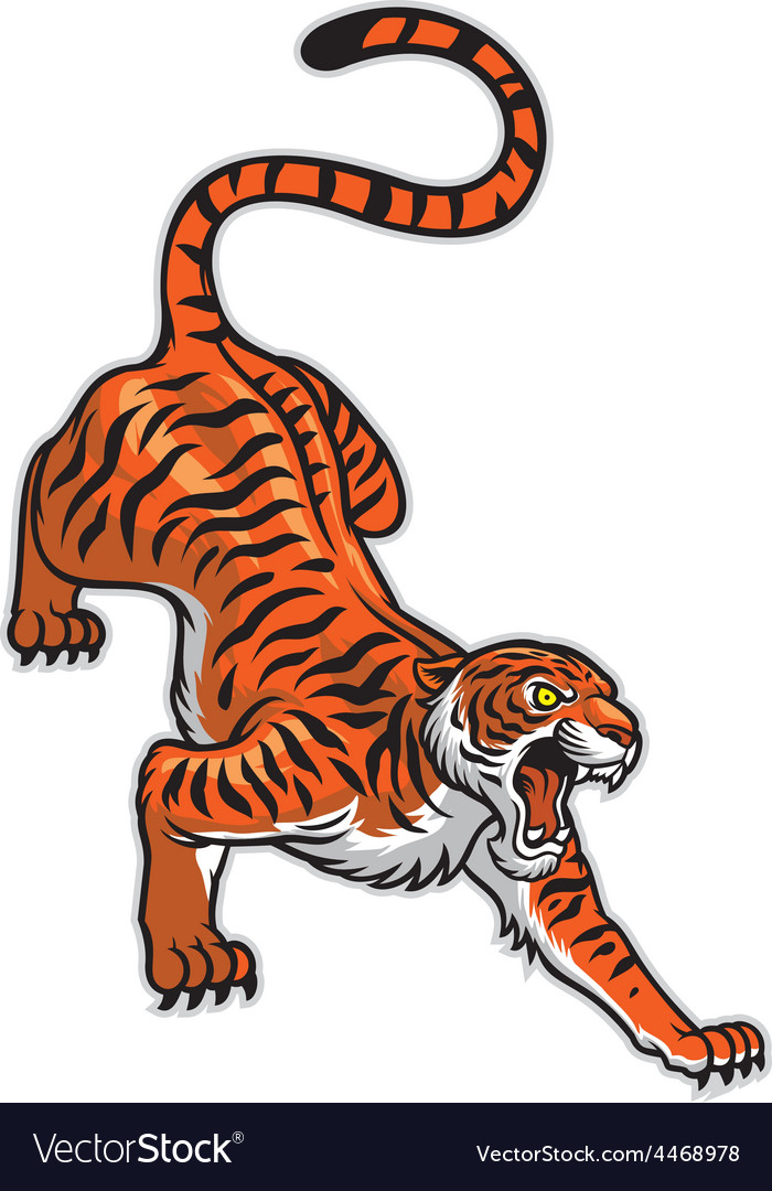 Tiger in classic tattoo pose vector