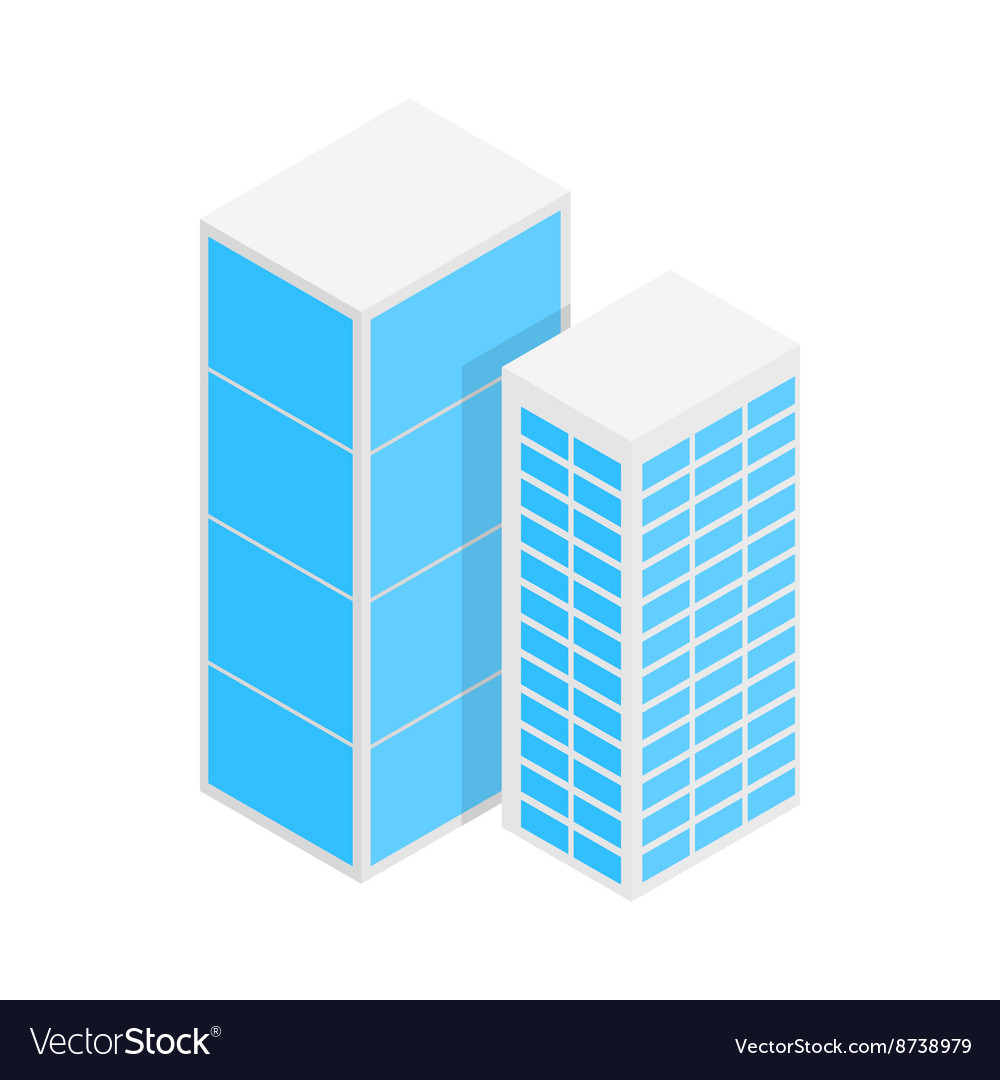 Modern office buildings icon isometric 3d style vector