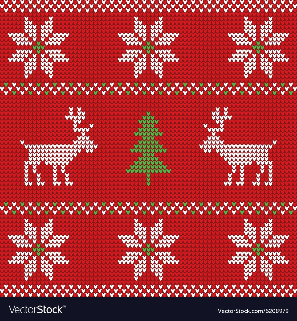 Red knitted christmas sweater with deer seamless vector