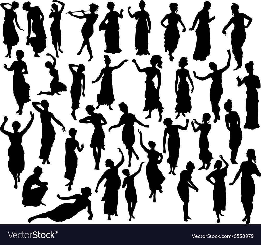 Silhouette of greek woman vector