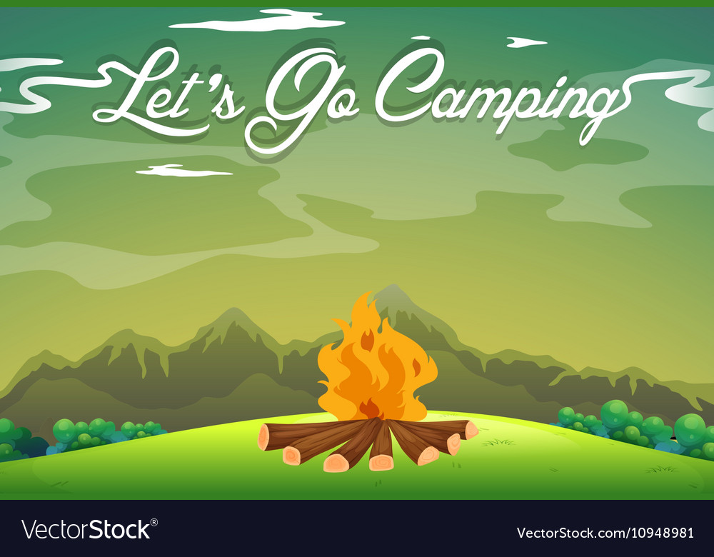 Camping ground with campfire in the field vector