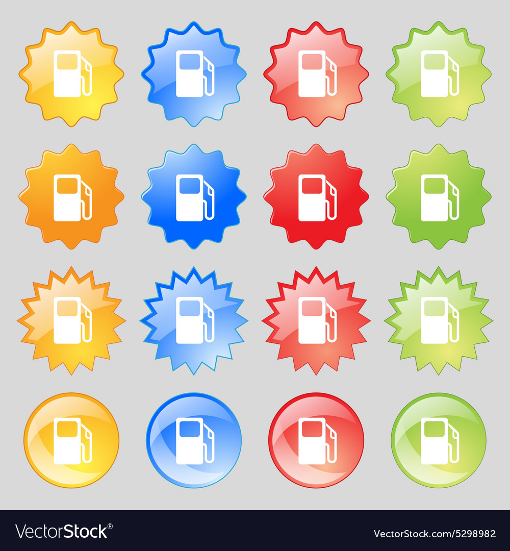 Auto gas station icon sign big set of 16 colorful vector