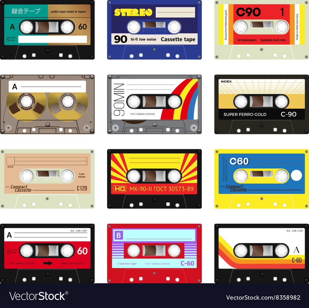 Vintage cassette tapes vol 3 vector