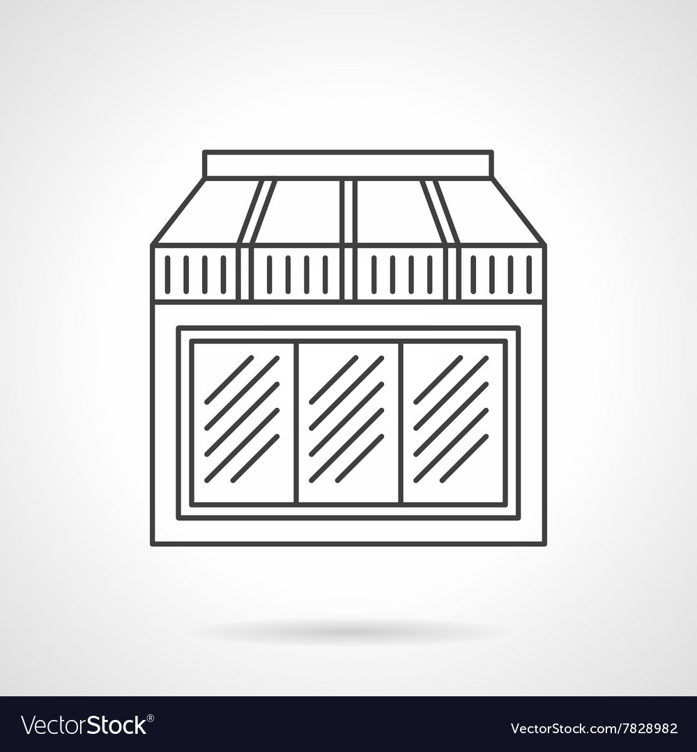 Window with awning flat line design icon vector