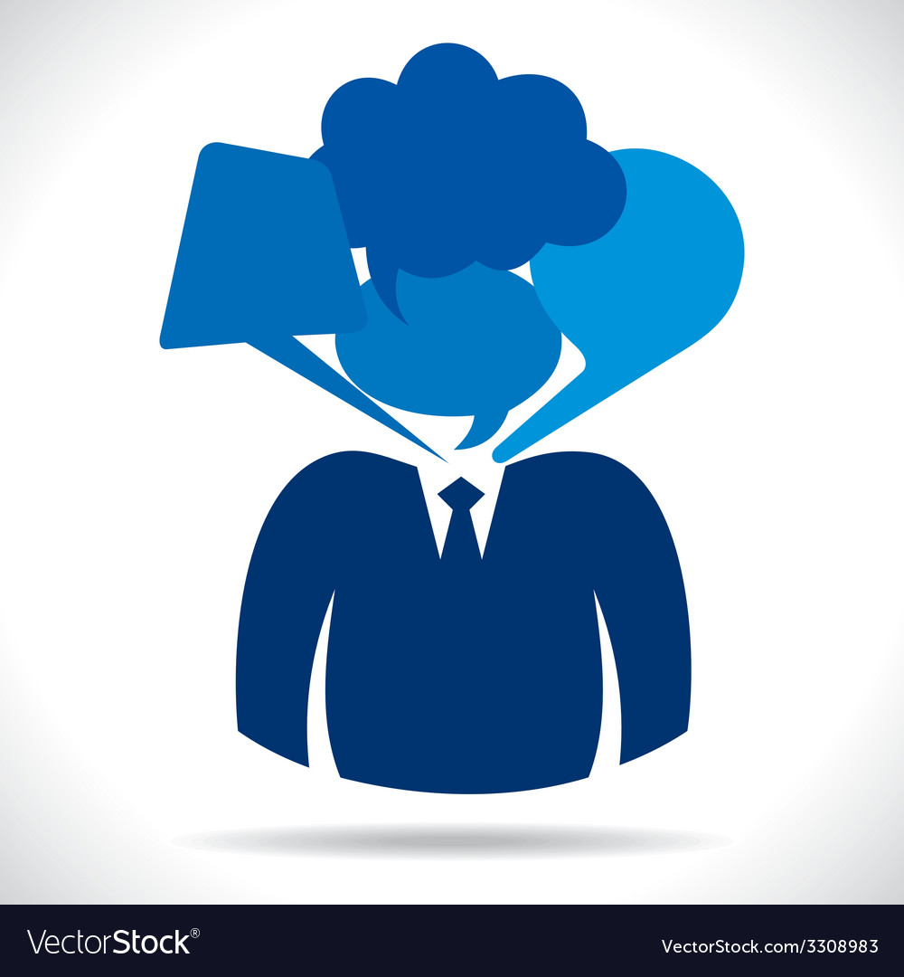 Businessmen head with different bubble vector