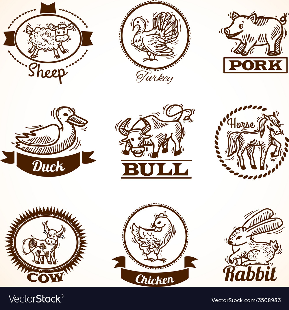 Farm labels set vector