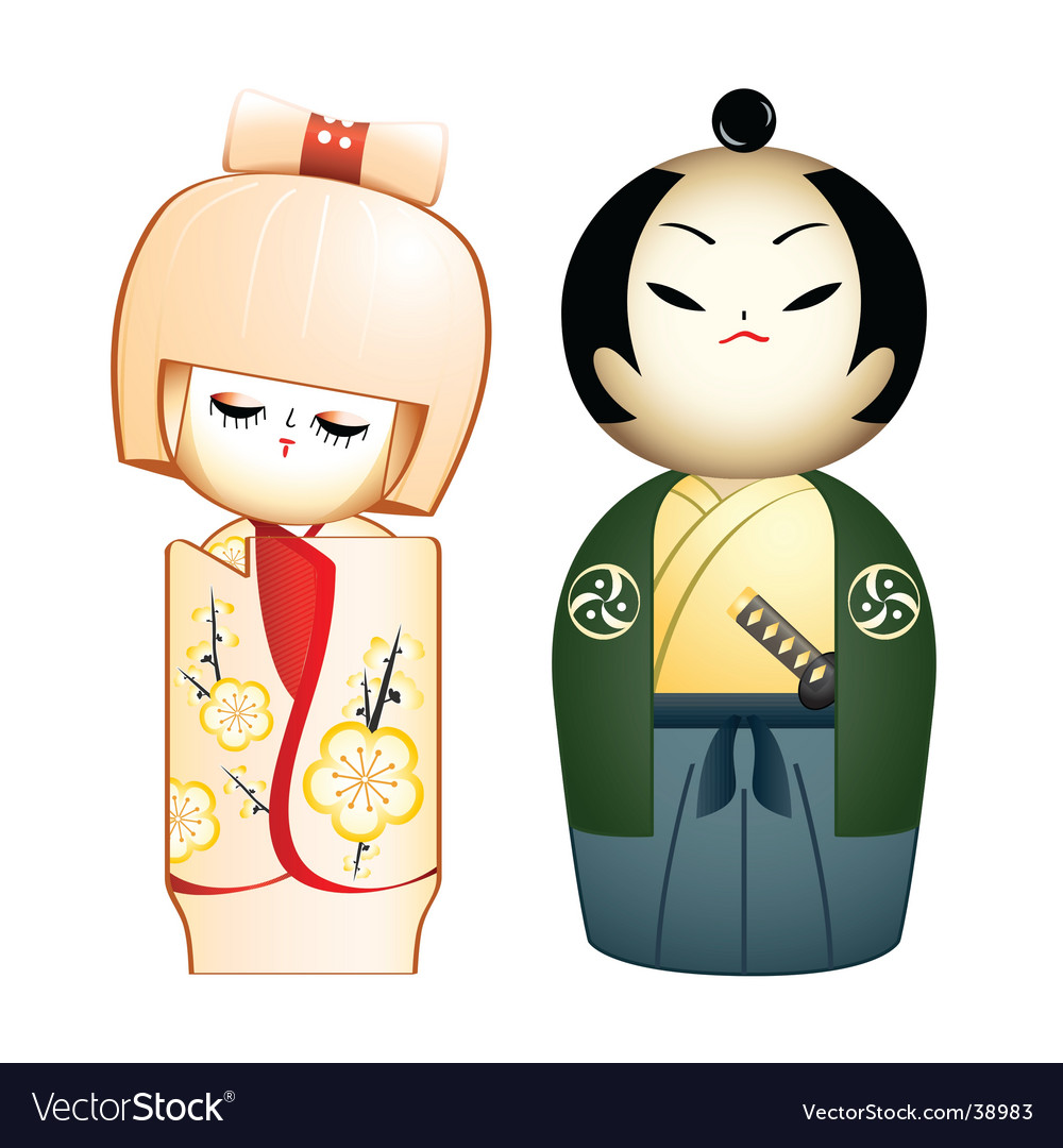 Geisha and samurai vector