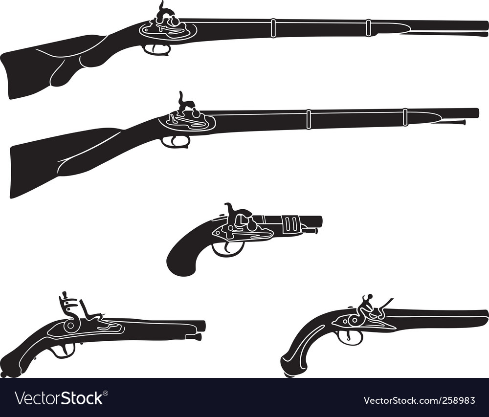 Old guns and pistols vector