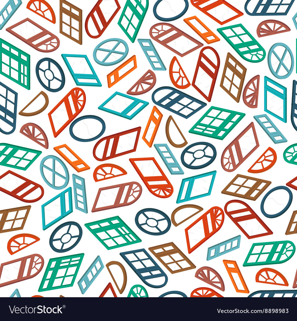 Seamless pattern color isometric window vector