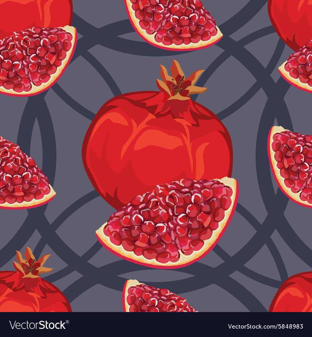 Seamless pattern of ripe red garnet vector