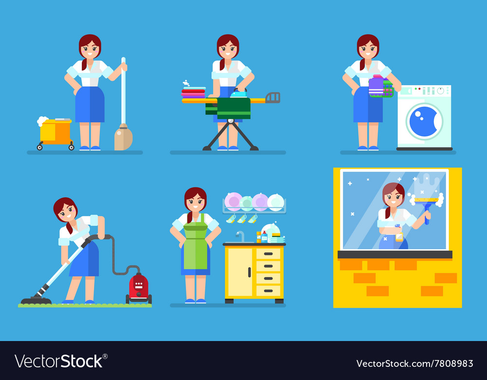 Woman washing and cleaning household series vector