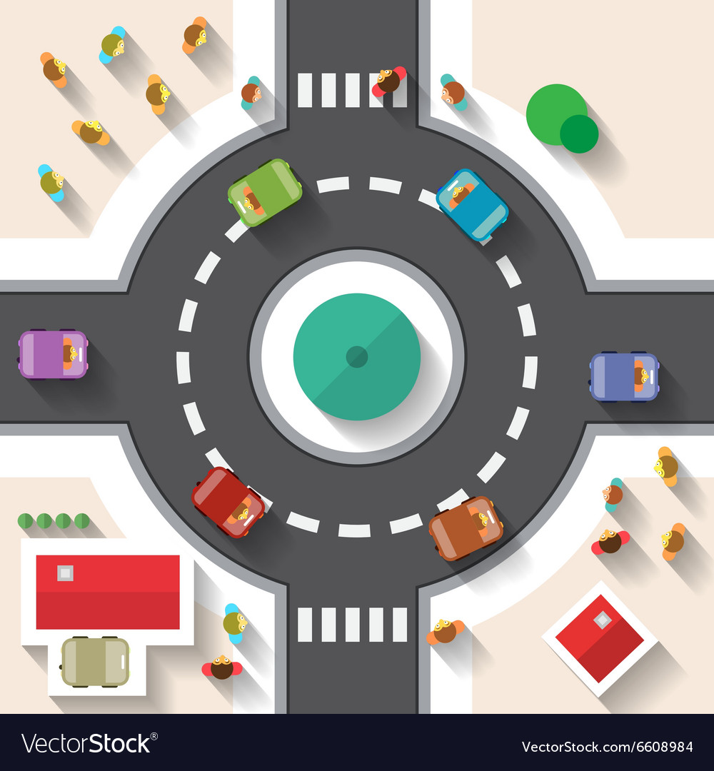 Flat design top view street roundabout with cars vector