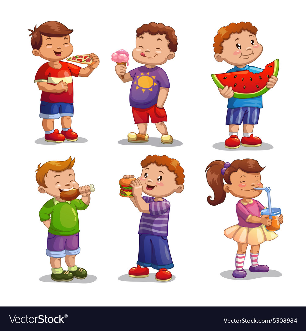 Kids with food and drink vector