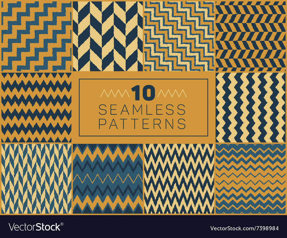 Seamless hand drawn zigzag patterns vector