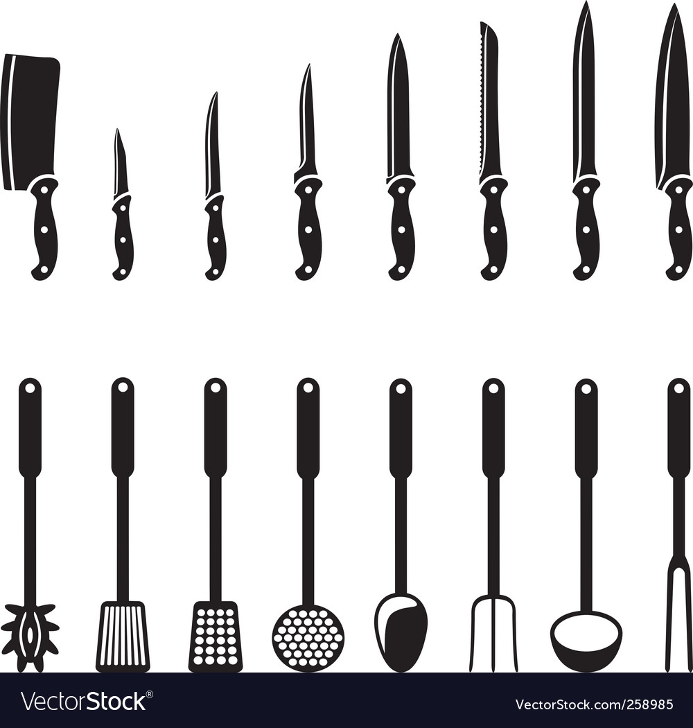 Kitchen knives and utensils vector