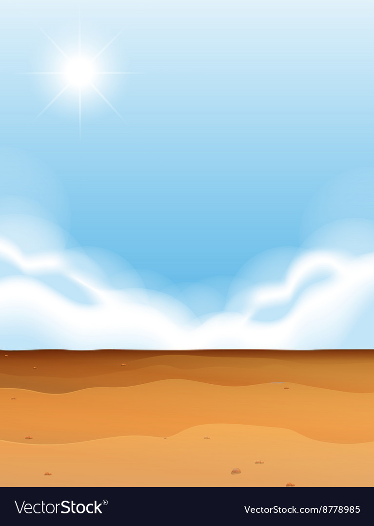 Scene with desert and blue sky vector