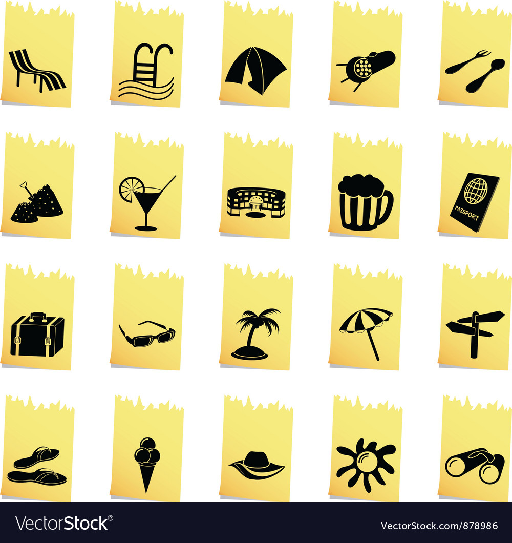 Travel set of different web icons vector