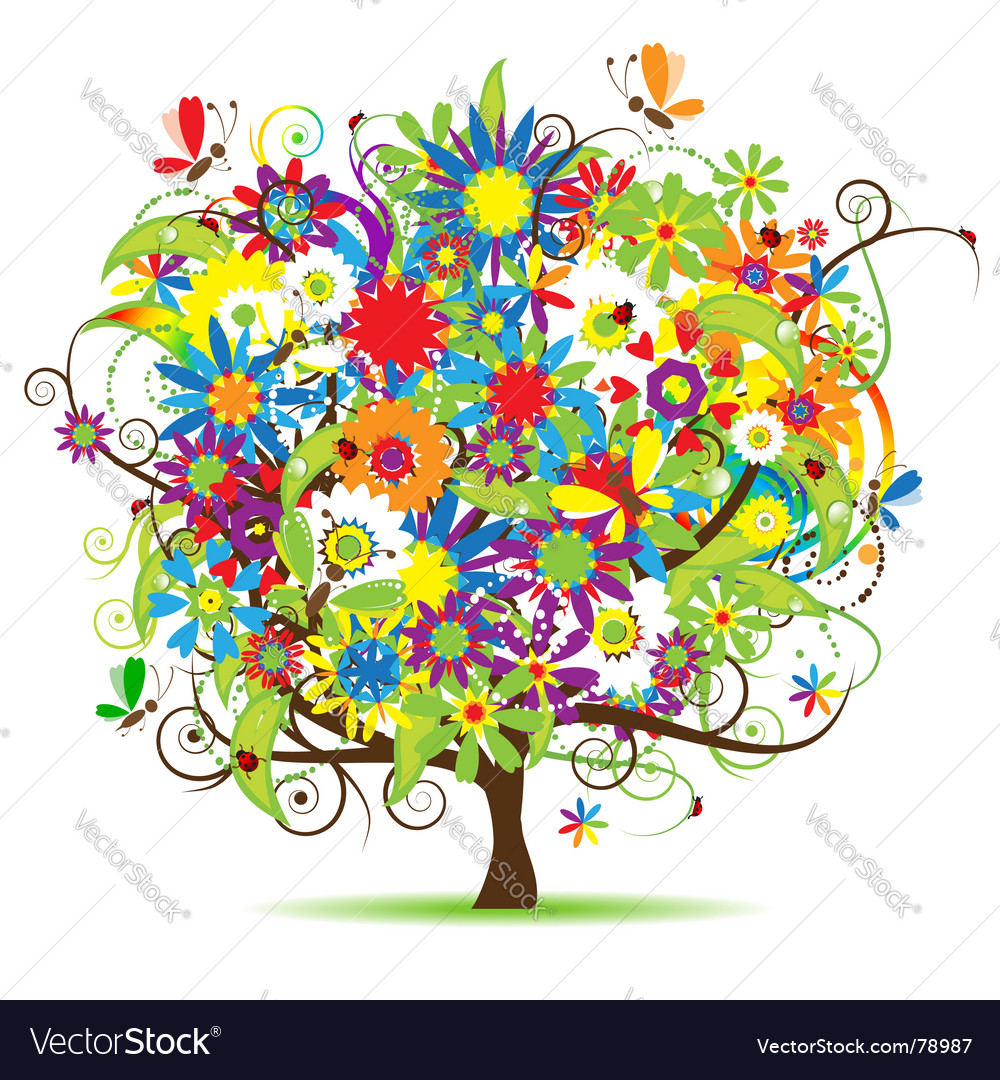 Floral tree vector