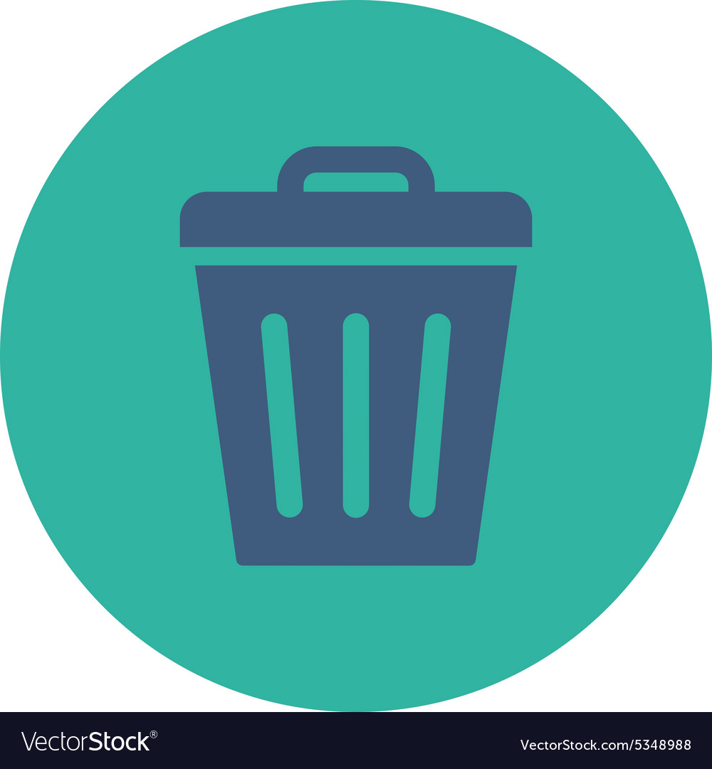Trash can flat cobalt and cyan colors round button vector