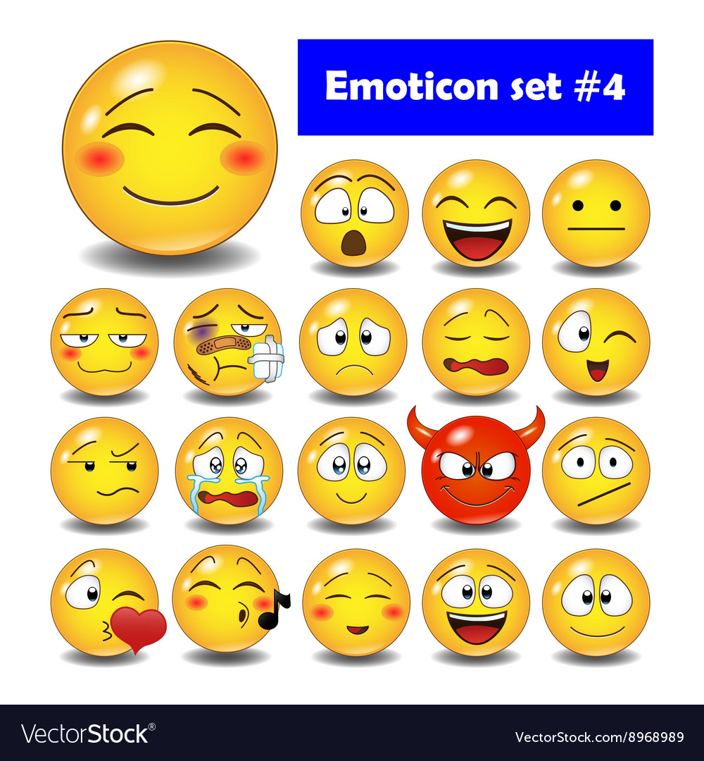 Set of cute smiley emoticons vector