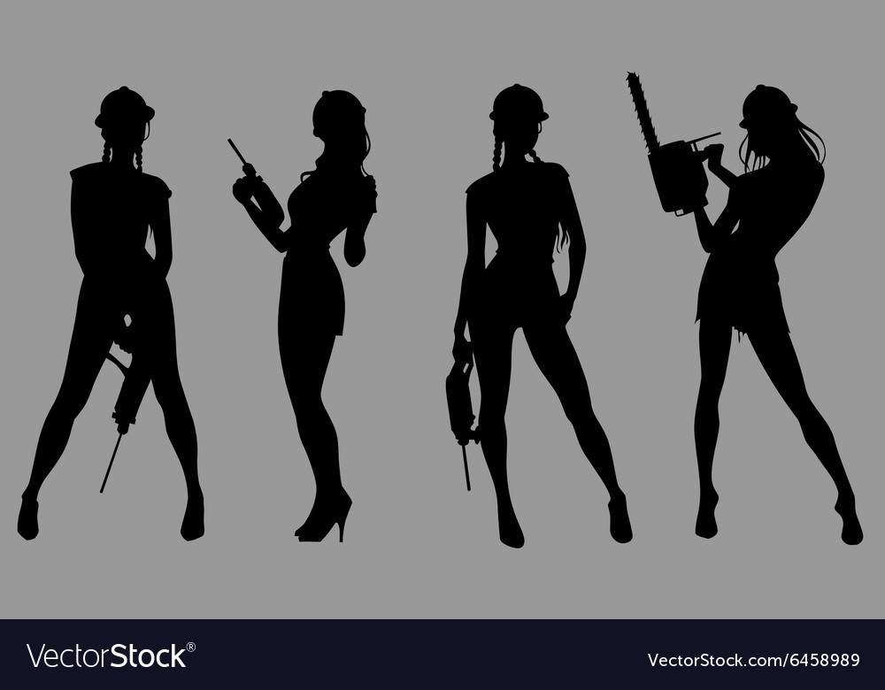 Silhouette of a beautiful woman wearing a helmet vector