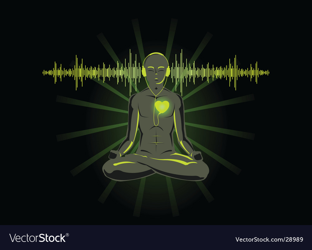 Yoga with headphones vector