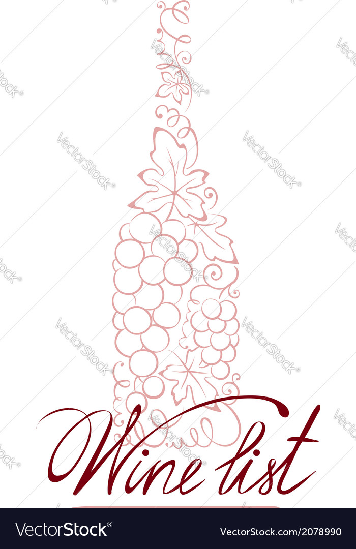 Abstract floral wine bottle vector