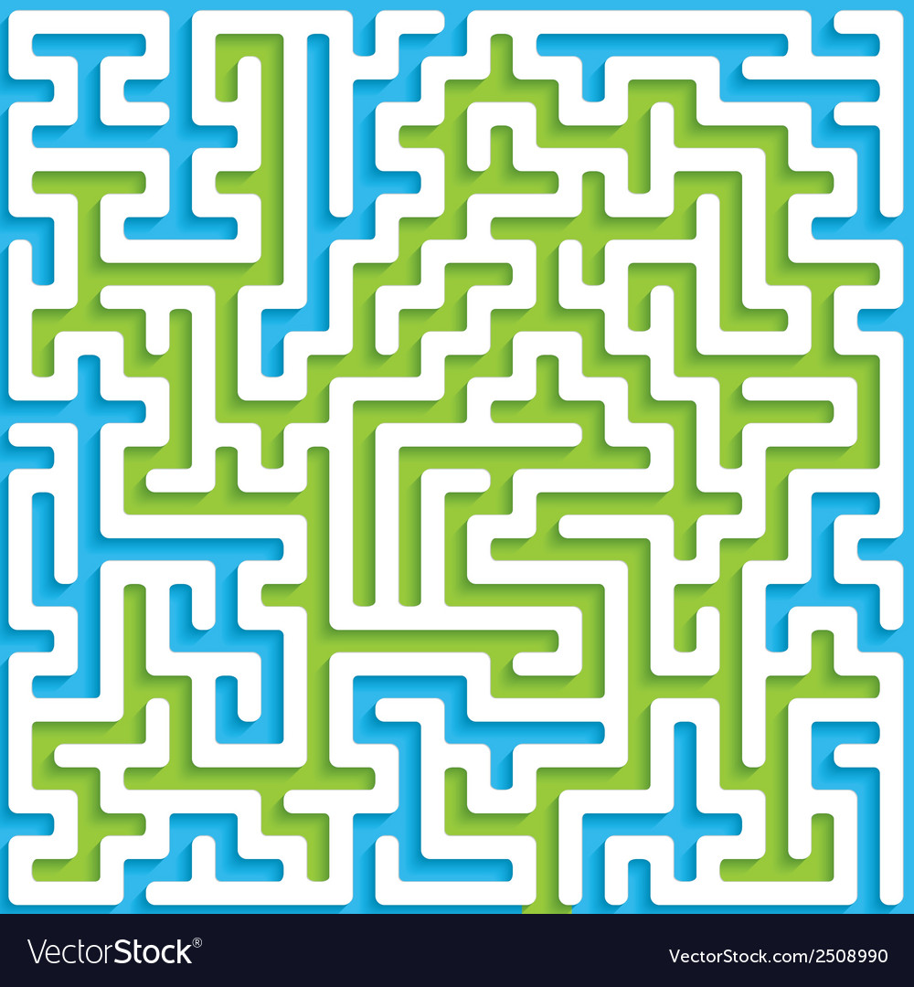 Abstract maze background with white walls and blue vector