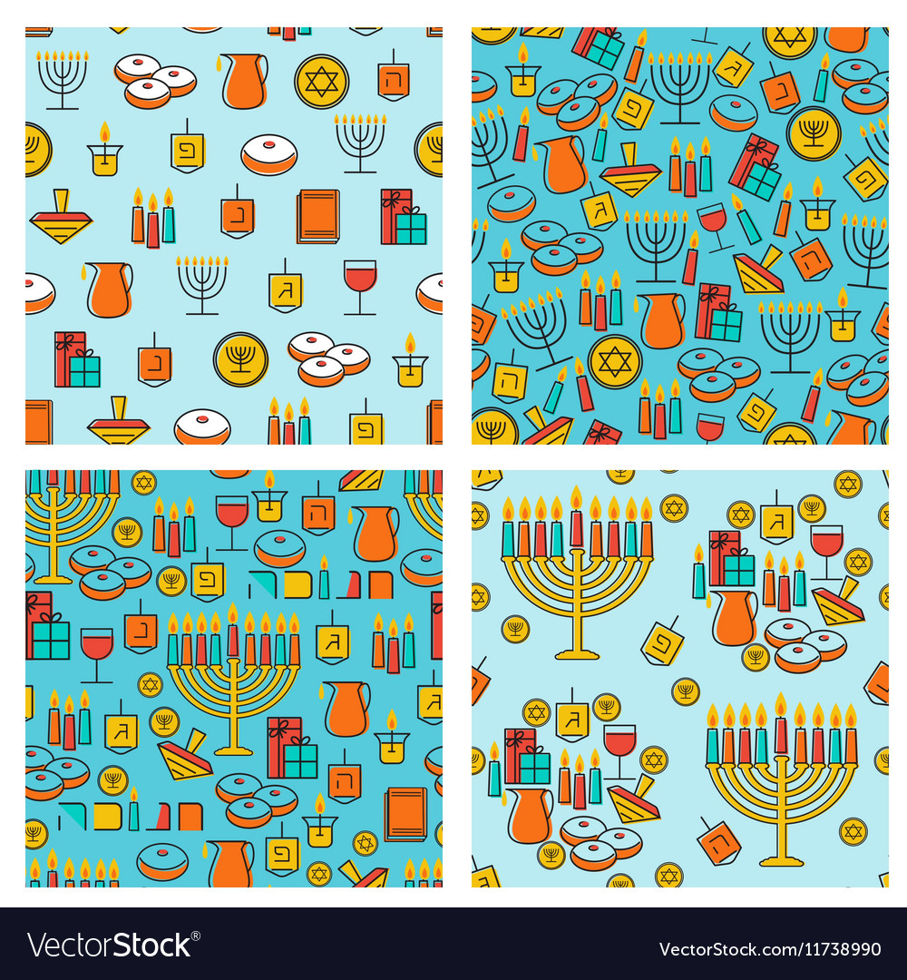 Hanukkah seamless pattern collection hanukkah vector