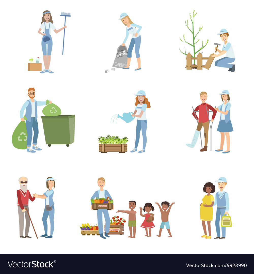 People volunteers in different situations vector