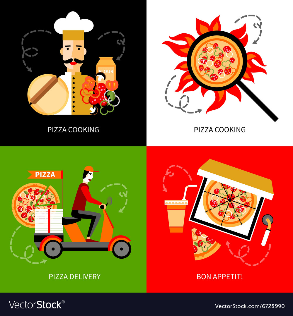 Pizza delivery 4 flat icons square vector