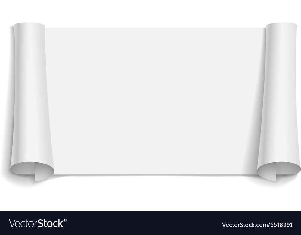 Blank scrolls of white paper stickers vector