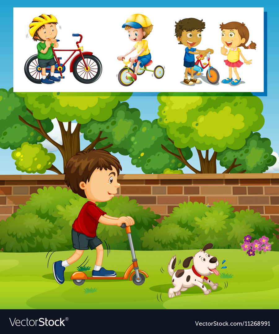 Boy playing scooter in the park vector