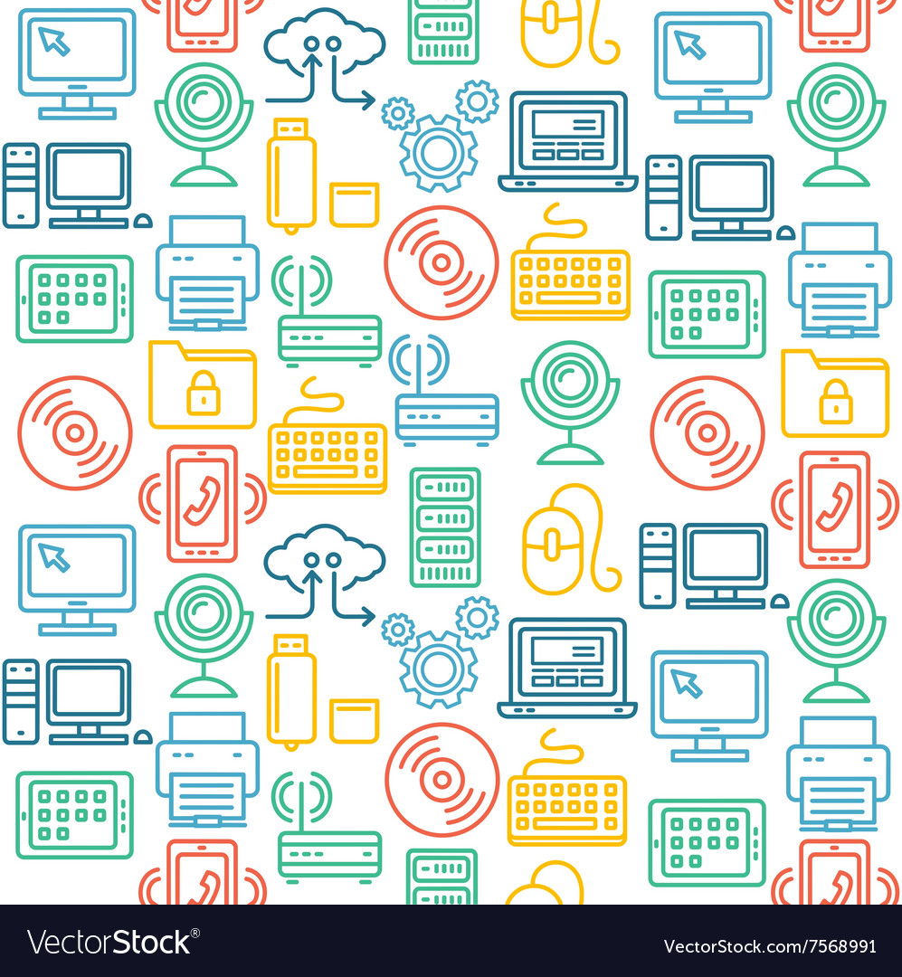 Computer technology seamless pattern vector