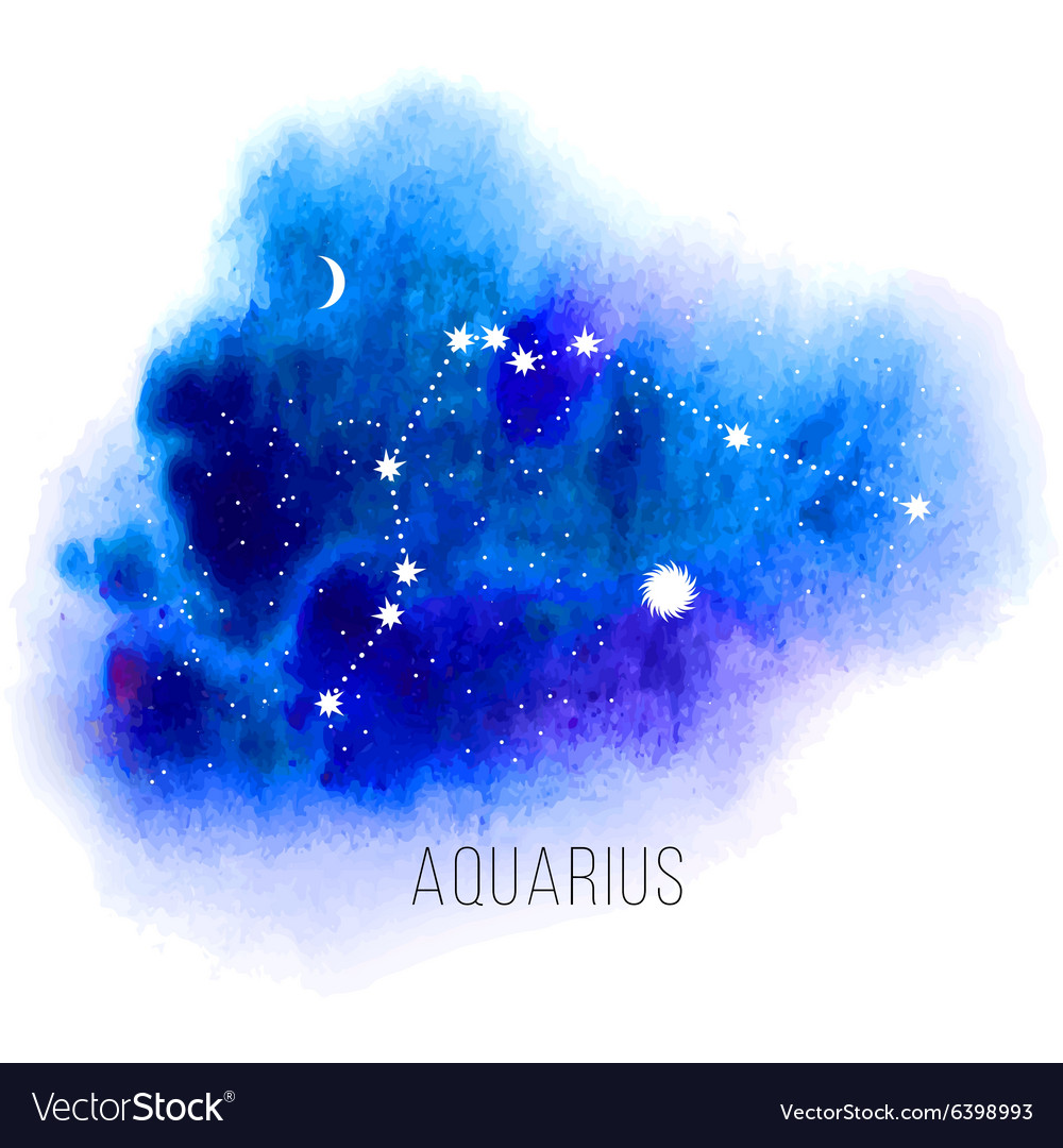 Astrology sign aquarius on watercolor background vector