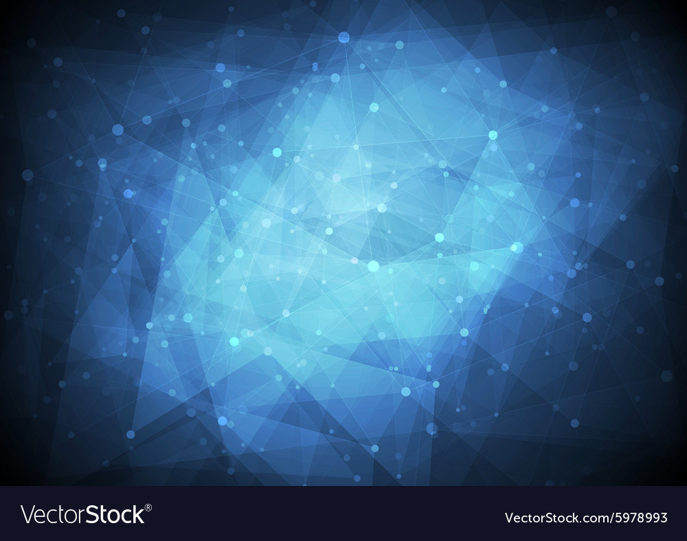 Dark blue low poly tech background vector