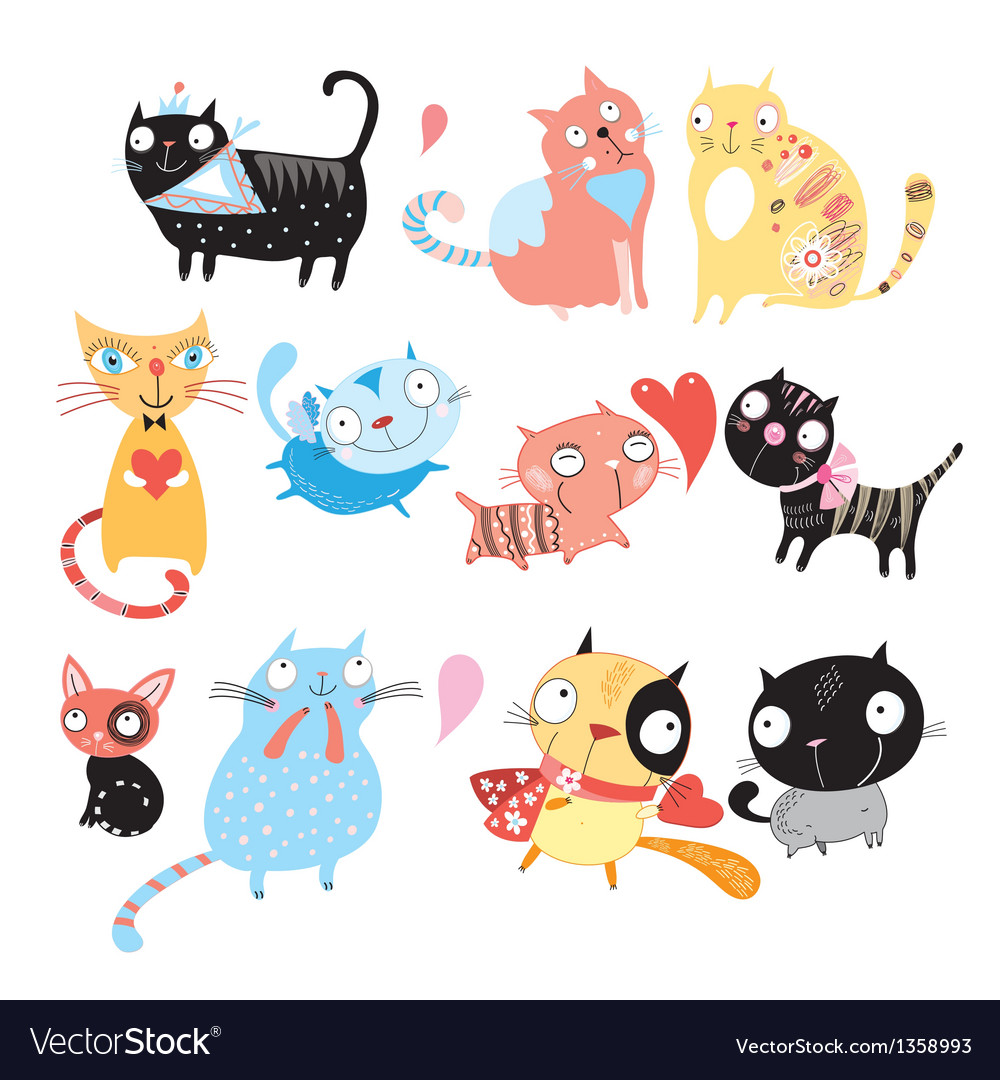 Different cats vector