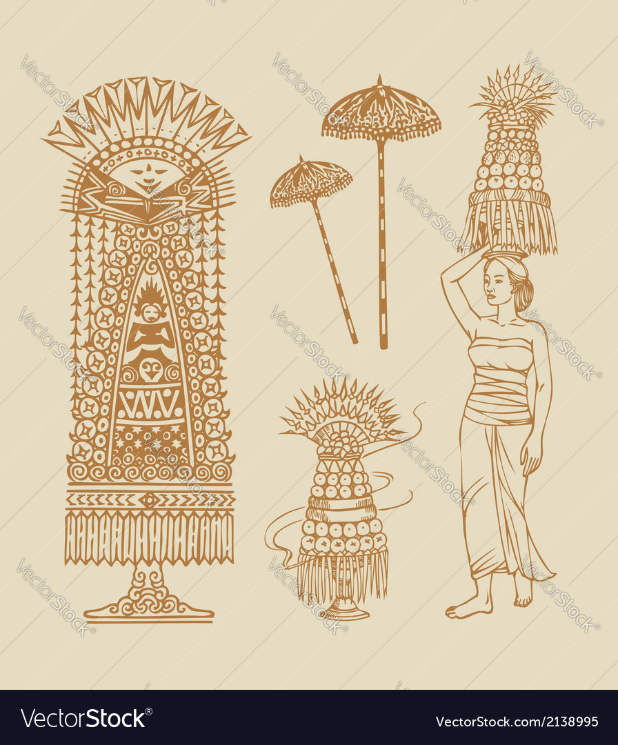 Lamak balinese element decorations vector