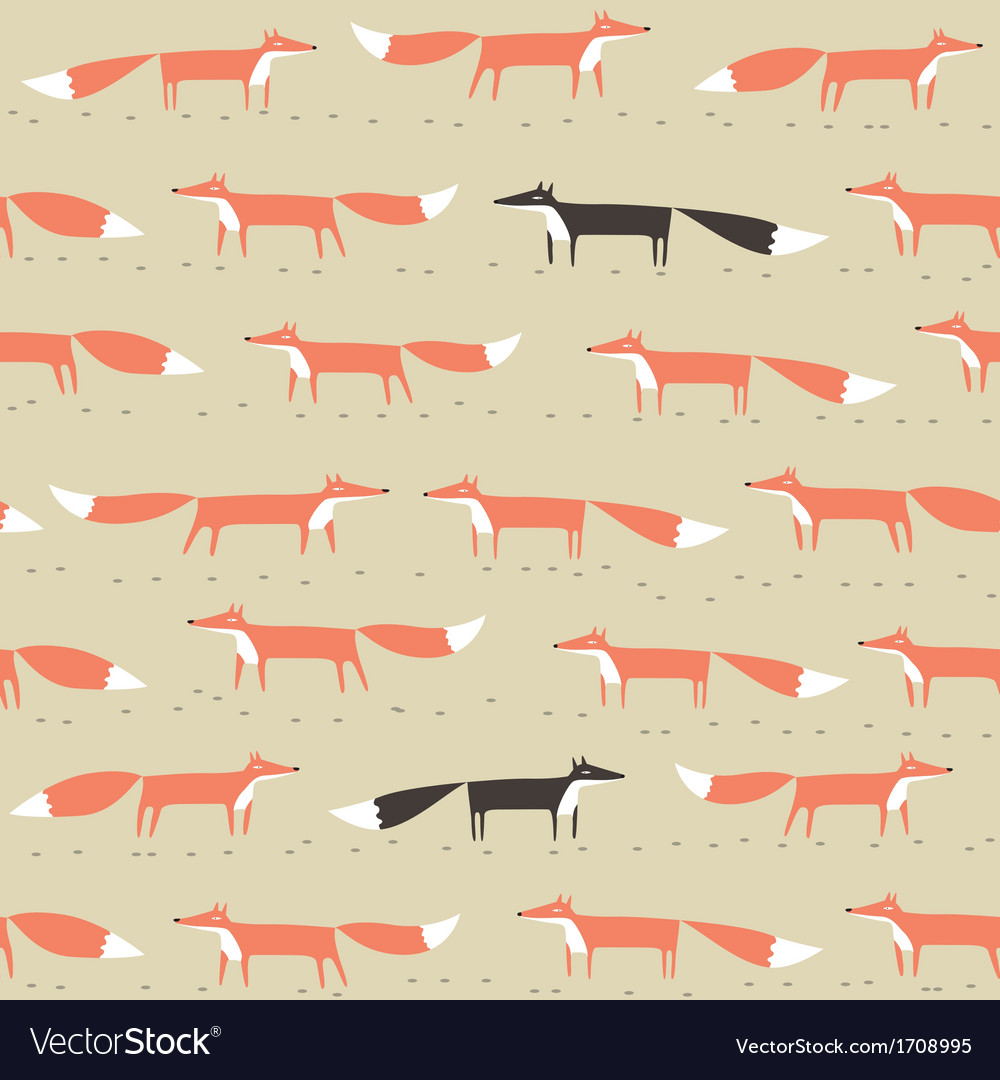 Red and black fox seamless pattern vector