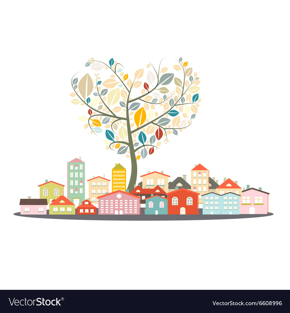 Abstract buildings  city or town with heart vector