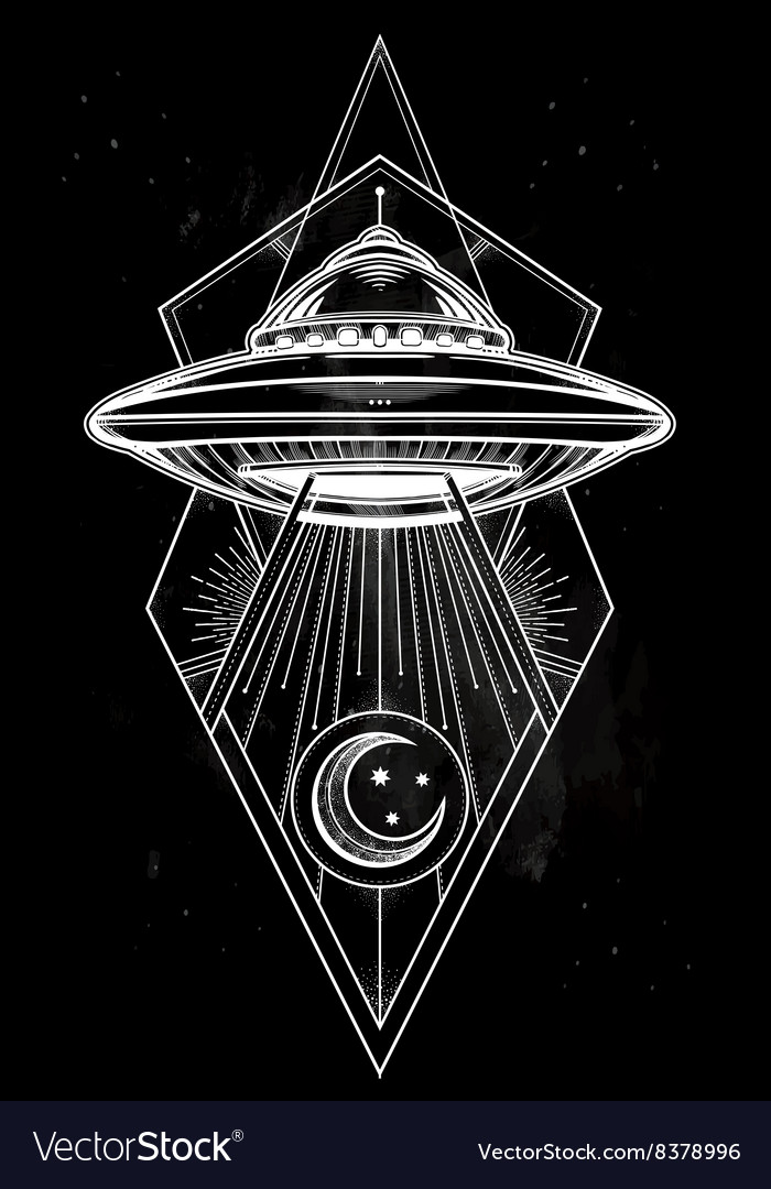 Alien geometric ufo background vector