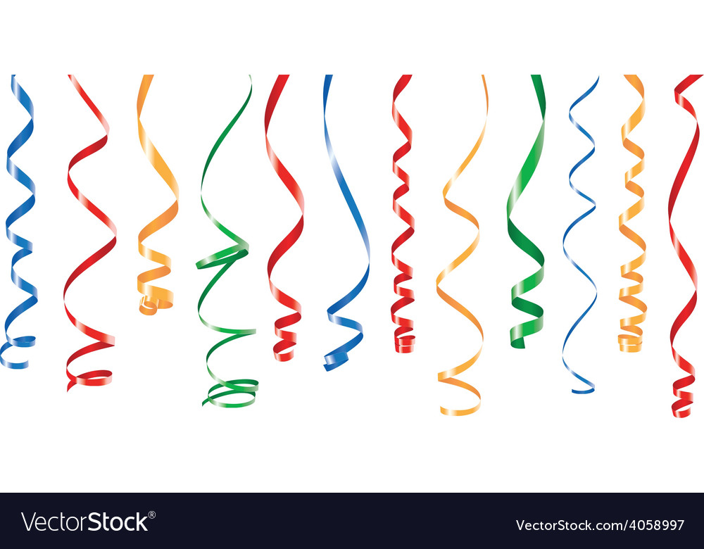 Color party ribbons banner vector