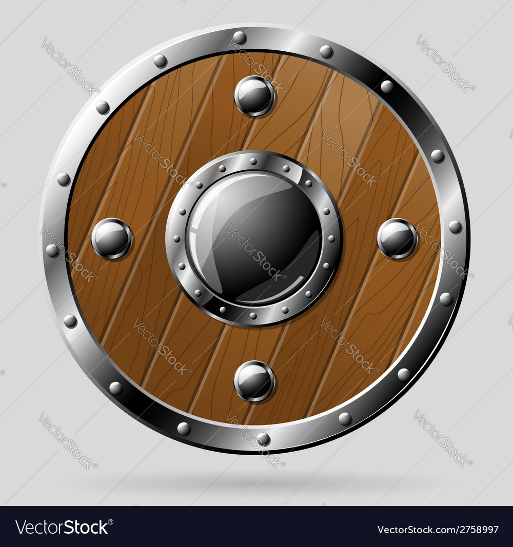 Round wooden shield isolated on white vector
