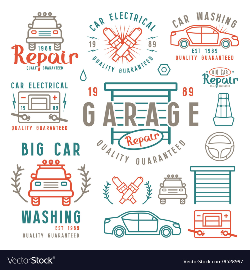 Set of car repair badges and design elements vector