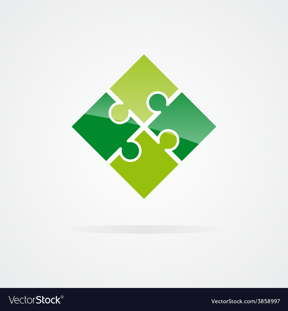 Set of color puzzle logo vector