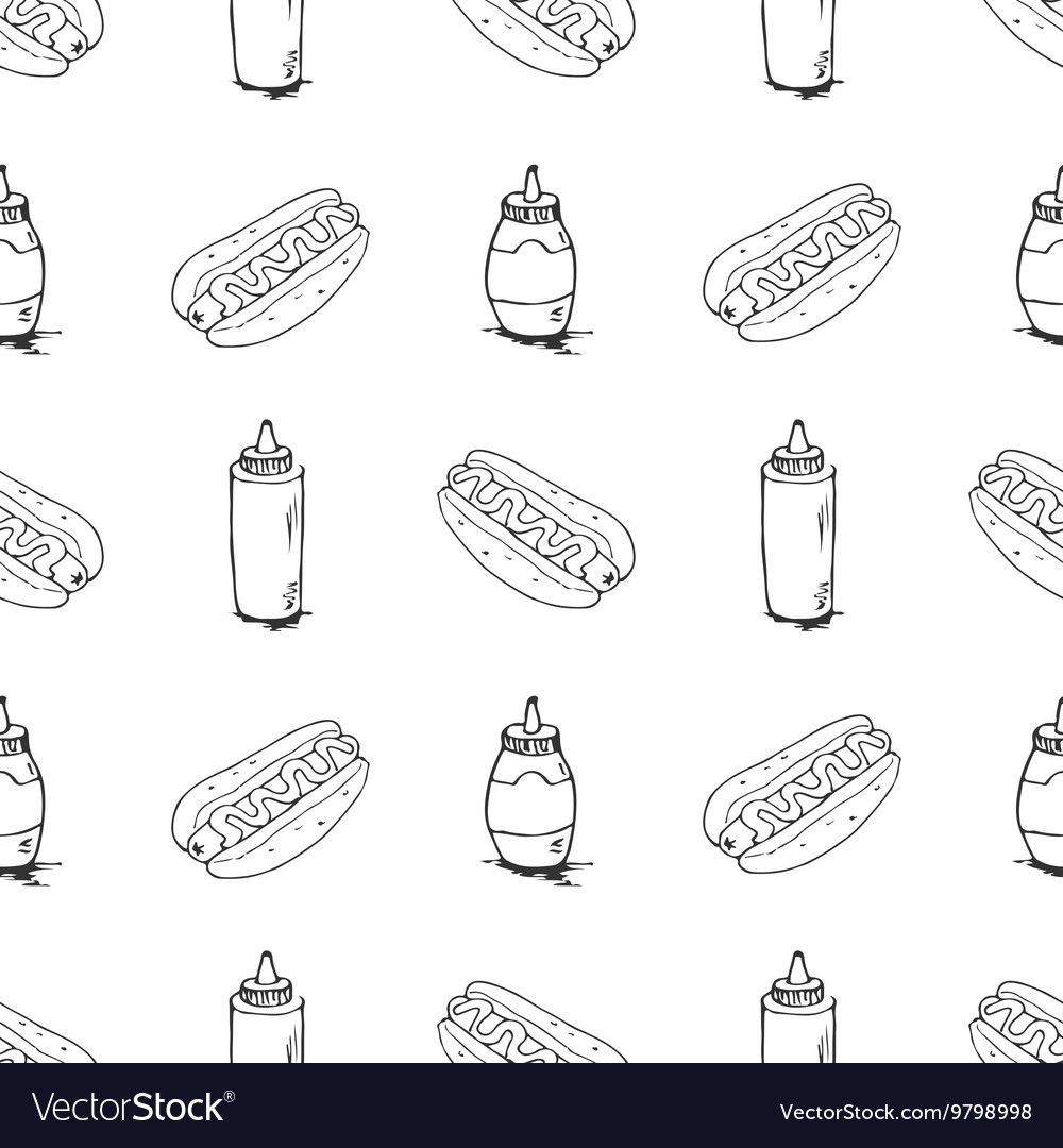 Hotdogs hand drawn seamless pattern vector